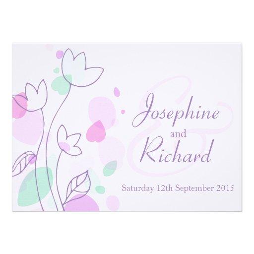 Graphic modern flower petals purple wedding invite