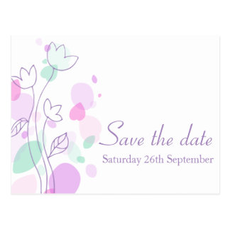 Graphic modern flower petals save the date card postcard