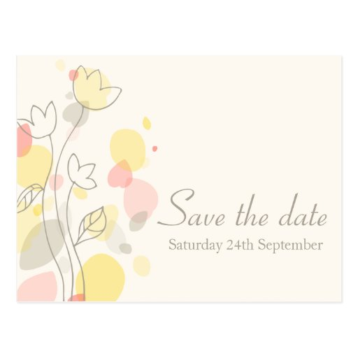 Graphic modern flower petals save the date card post card