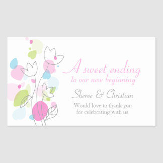 Graphic modern flower petals wedding candy sticker