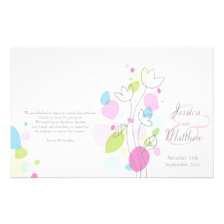 Graphic modern flower petals Wedding Programme