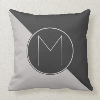 Graphic Monogram Charcoal Gray Cushion