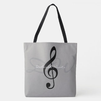 graphic musical note on gray tote bag with name