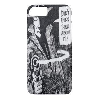 Graphic novel hero pointing a gun iPhone 7 case