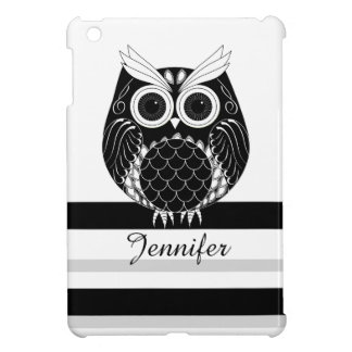 Graphic owl on striped background with name case for the iPad mini