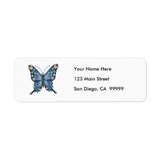 Graphic Pastel Blue Spotted Butterfly Return Address Label