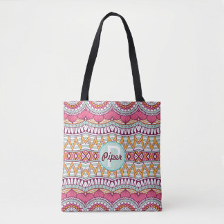 Graphic Pink and Mint Mandala Pattern | Tote