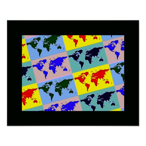 graphic pop art world map posters