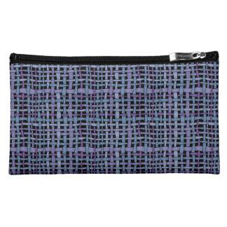 Graphic Realistic Looking Woven Burlap Blue Purple Makeup Bag