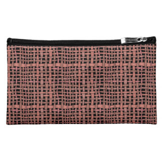 Graphic Realistic Looking Woven Burlap Peach Makeup Bags