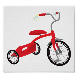 Graphic Red Tricycle Poster