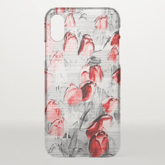 Graphic Red Tulips iPhone X Case
