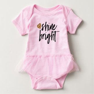 Graphic Shine Bright Text With Gold Diamond Baby Bodysuit