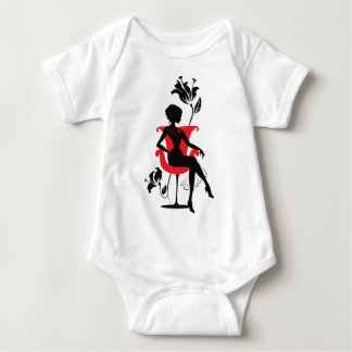 Graphic silhouette of a woman baby bodysuit