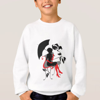Graphic silhouette of young woman with umbrella sweatshirt