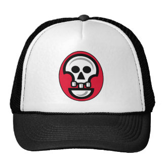 Graphic skull image in red, black and white cap