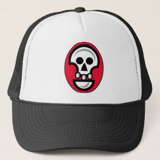 Graphic skull image in red, black and white trucker hat