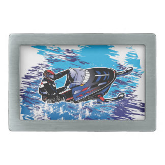 Graphic Snowmobiler Rectangular Belt Buckles