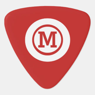 graphic solid red white circle monogram guitar pick