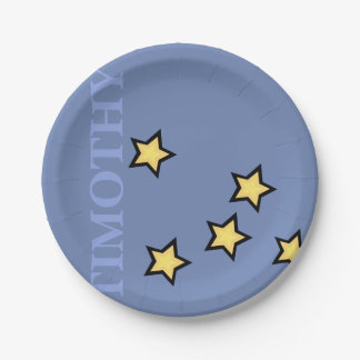 GRAPHIC STARS PERSONALIZED CUSTOM BLUE PAPER PLATE
