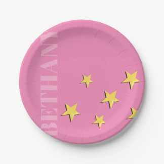 GRAPHIC STARS PERSONALIZED CUSTOM PINK PAPER PLATE