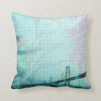 graphic stormed Bay bridge Throw Pillows