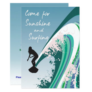 Graphic Surfer on Wave Sunshine and Surfing Party Card