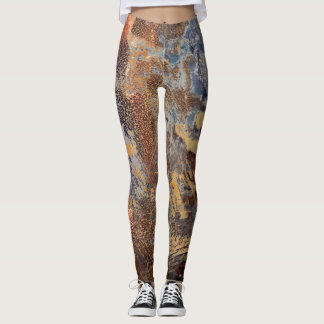 Graphic Tarnished Metal Abstract Mottled Pattern Leggings