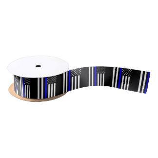 Graphic Thin Blue Line Display US Flag Satin Ribbon