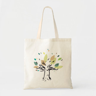 Graphic tree illustration on carrying bag