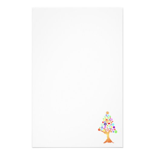 Graphic tree on white customized stationery
