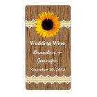 Graphic Wood Grain & Sunflower Mini Wine Labels