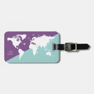 graphic world map travel purple luggage tag