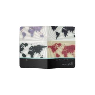 graphic world maps with name & initials, elegant passport holder