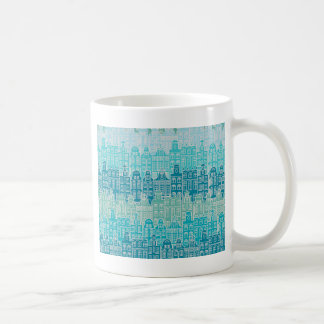 Graphical blue buildings in European style Coffee Mug