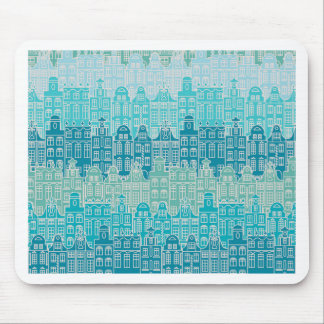 Graphical blue buildings in European style Mouse Pad