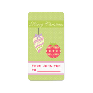 Graphical Green Polkadotted Christmas Ornaments Address Label