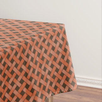 Graphical Woven Nature Rattan on Custom Brown Tablecloth