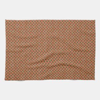 Graphical Woven Rattan Orange on Custom Green Tea Towel