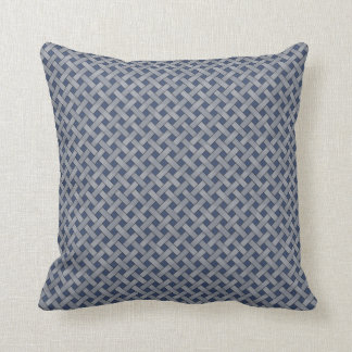 Graphical Woven Rattan Silver on Custom Blue Cushion