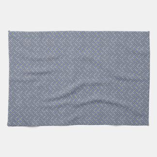 Graphical Woven Rattan Silver on Custom Blue Tea Towel