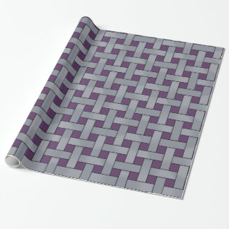 Graphical Woven Silver on Custom Purple Color Wrapping Paper
