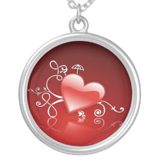 Graphics of St. Valentine's day - Round Pendant Necklace