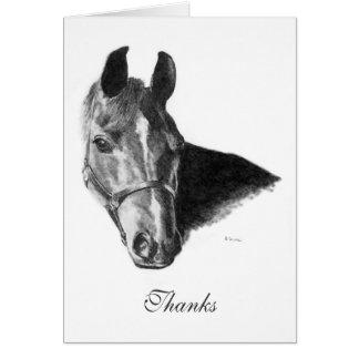 Graphite Arabian Horse Head Thank You Note Card