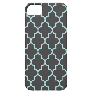 Graphite Grey and Turquoise Quatrefoil iPhone 5 Cover