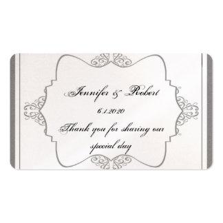 Graphite Grey Filigree Posh Wedding Favor Tag Business Card