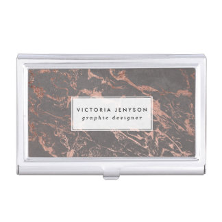 Graphite trendy cement concrete rose gold marble business card holder