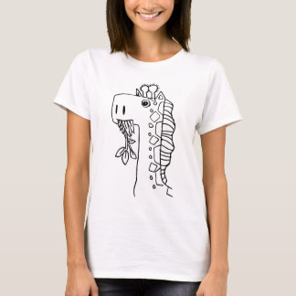 Grass eating Giraffe @doodlejohn T-Shirt