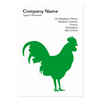 Grass Green Cockerel - Black on White Pack Of Chubby Business Cards