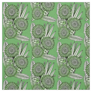 Grass-Green Floral Spray Fabric